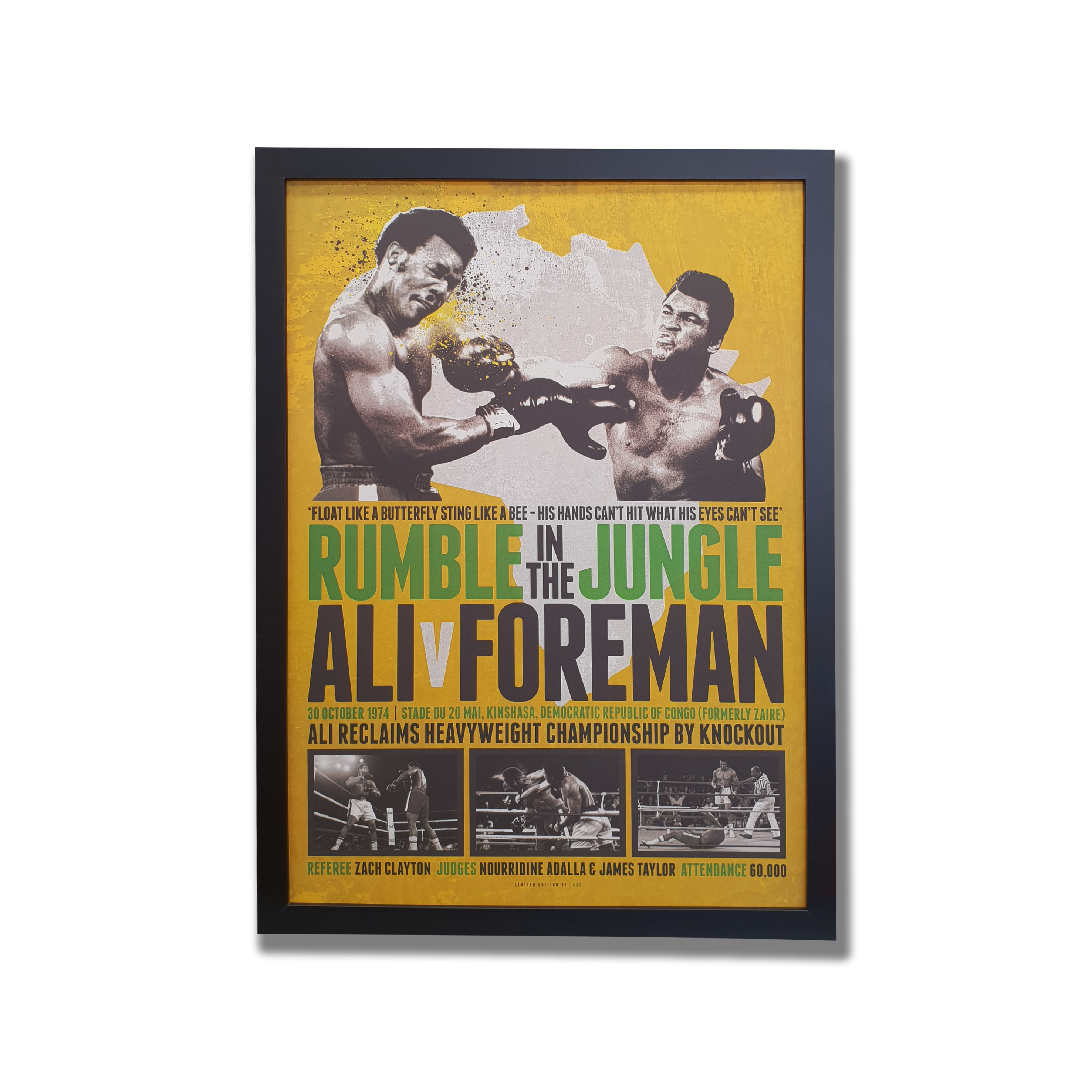 A framed poster of Ali and Foreman battle in 1974. Features black and white photos and wording. Muhammad Ali Memorabilia