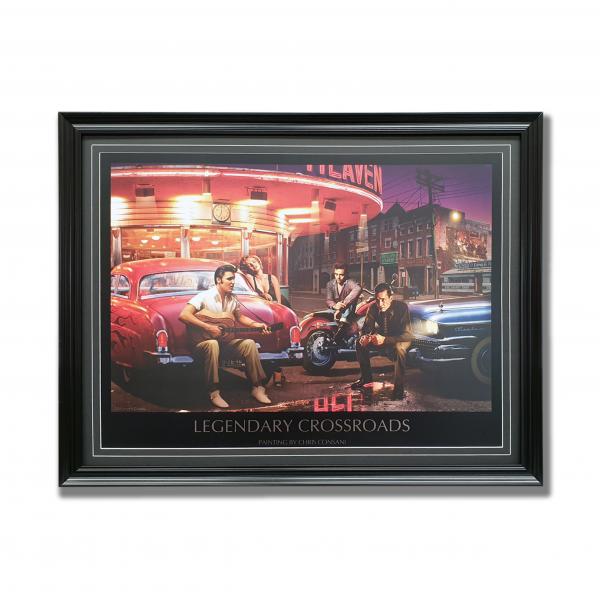 A print featuring Marilyn Monroe, Elvis Presley, Humphrey Bogart and James Dean. It has been custom framed with a black frame | Elvis wall art