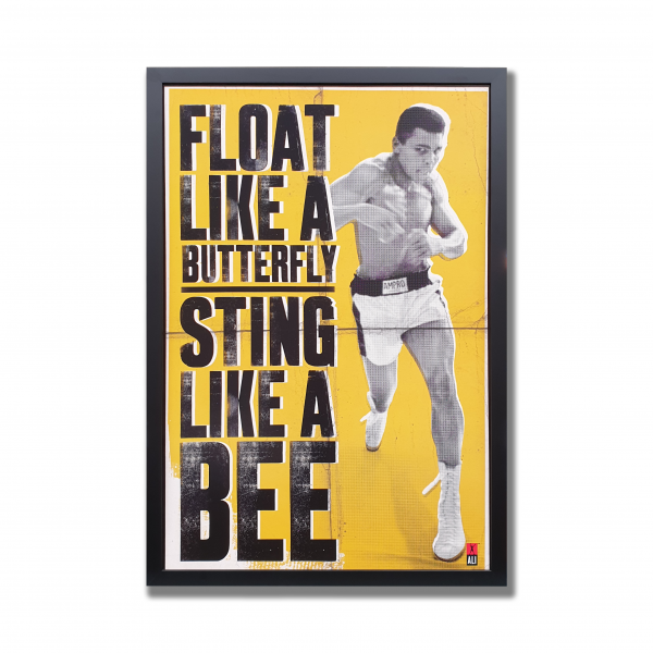 Float like a butterfly sting like a bee poster in custom frame
