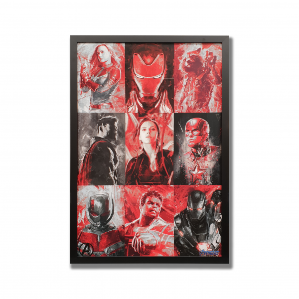 9 images of each of the avenger characters in red, black and grey.
