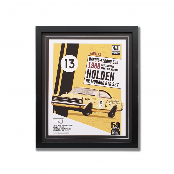 A poster of a Holden HK Monaro GTS with words and surrounded by a black wooden frame
