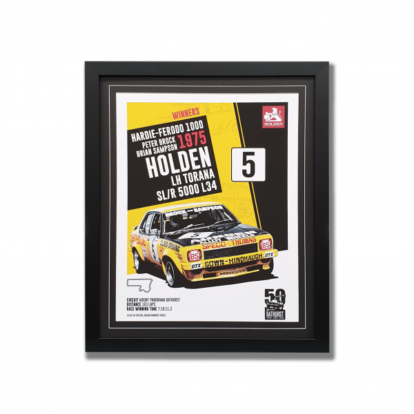 1975 Bathurst winner Holden LH Torana poster in a black frame