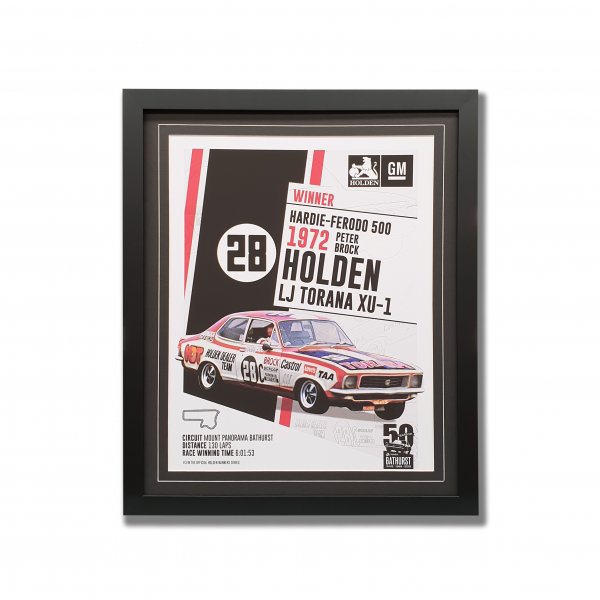 Winning Holden LJ Torana XU1 1975 Bathurst in black frame