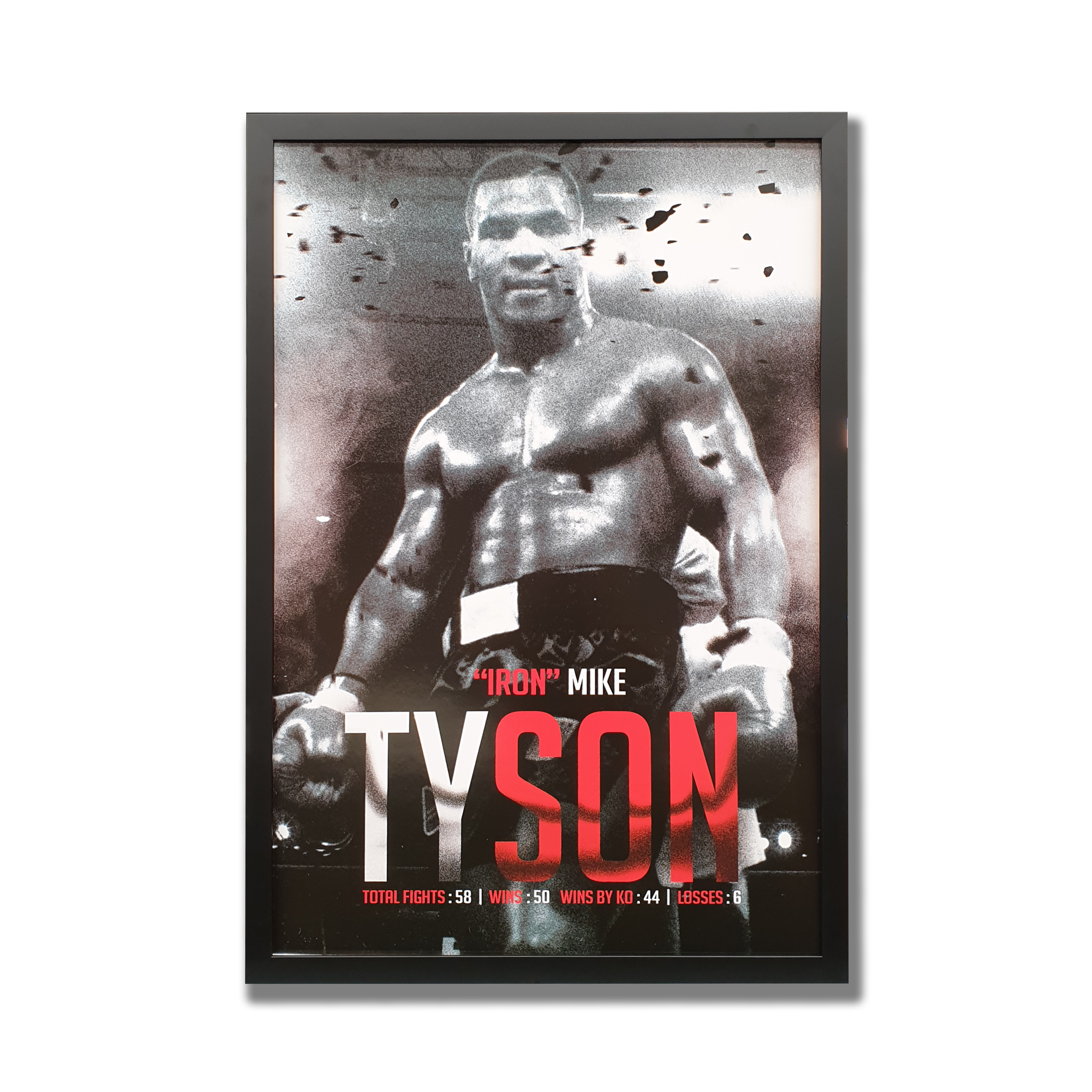 A black and white photo of Mike Tyson with white and red typography framed in black