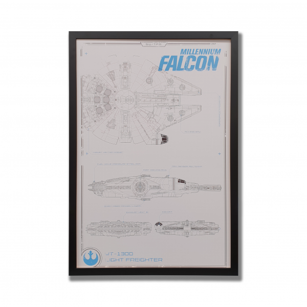 A white poster with a drawing of millenium falcon, the starship from Star Wars. The poster is surrounded by a black frame.