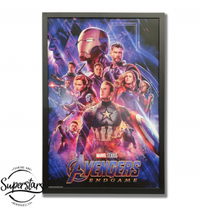 A poster of each of the Avengers characters in red and blue. The poster is surrounded by a black wooden frame. An Avengers Poster perth