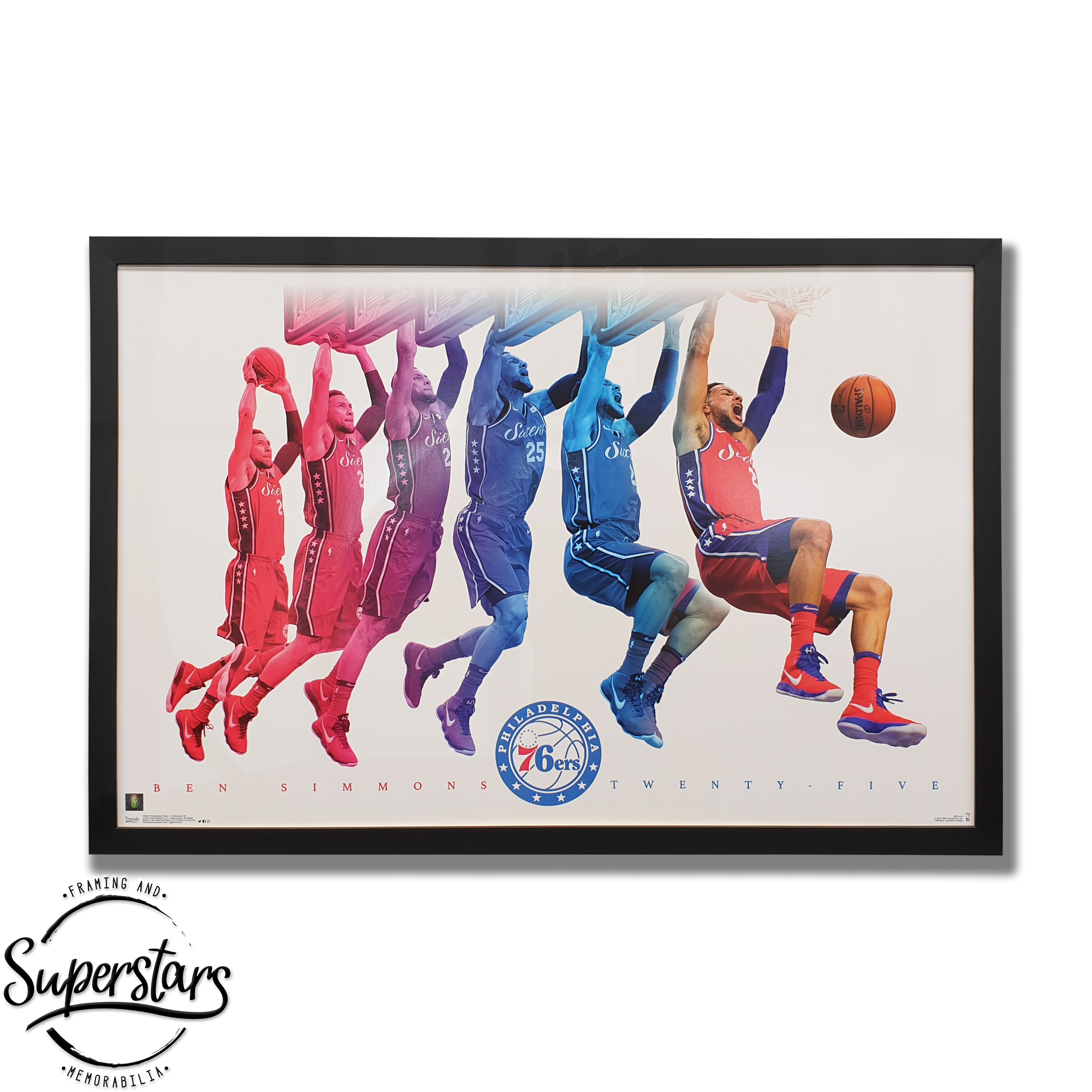 Poster of Ben Simmons slam dunk with frame