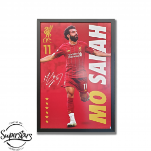 Poster of Mo Salah at Liverpool FC custom framed by Superstars Framing and Memorabilia