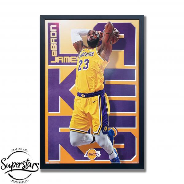 LA Laker's champion LeBron James poster custom framed in perth