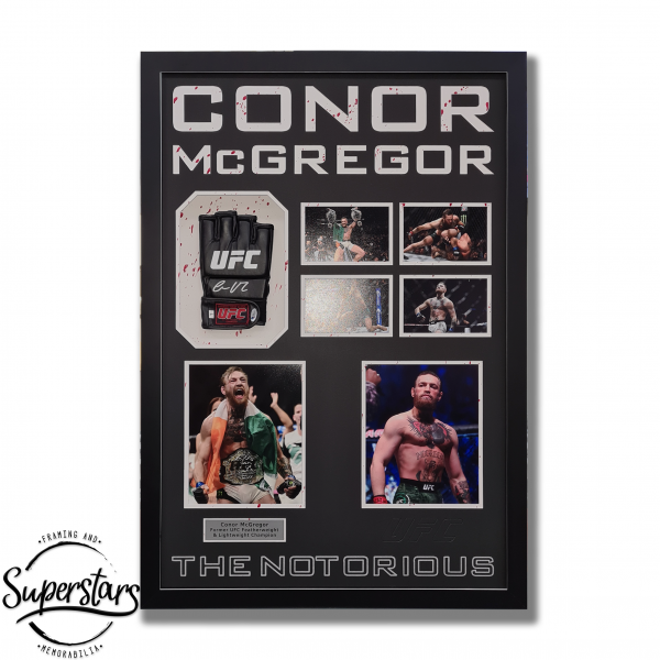 A framed UFC glove signed by Conor McGregor, photos of Conor McGregor and wording