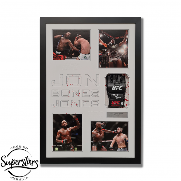 Jon Jones signed glove with photos of him in action in a frame