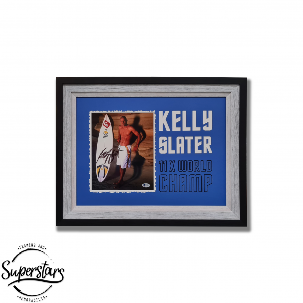 A photo of Kelly Slater signed by him. This photo has been framed and sits alongside special wording.