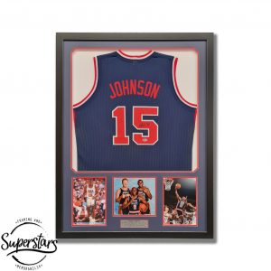 Magic Johnson jersey with his autograph and photos of him playing.